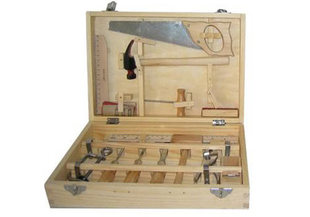 Child's Working Metal And Wood Tool Set Of Sixteen