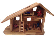 Natural Wooden Dollhouse Two Storey Steiner Inspired