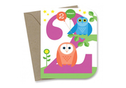 2nd Birthday Card - Night Owls Eco