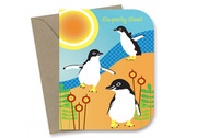 Beach Penguins Birthday Card